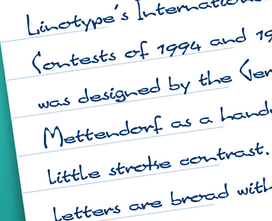 Linotype Inky Script usage sample
