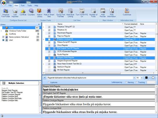 Abb. 1: Das Hauptfenster des FontExplorer X Pro für Windows.