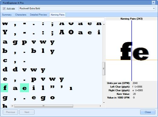 Abb. 3: Das Info-Fenster mit Anzeige der Kerning-Paare.