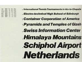 Echantillon de fontes Helvetica (1967)