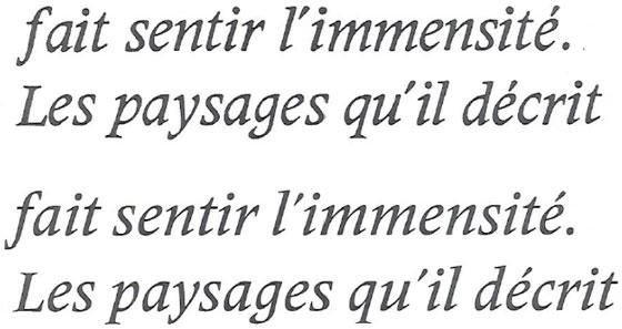 Deberny & Peignot Meridien Italic 8-point type, enlarged (top two lines). Frutiger Serif Medium (bottom two lines)