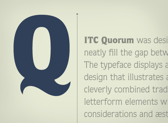 ITC Quorum font sample