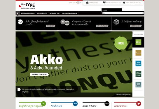 Die neue Startseite von www.linotype.com mit Schriften-Bühne